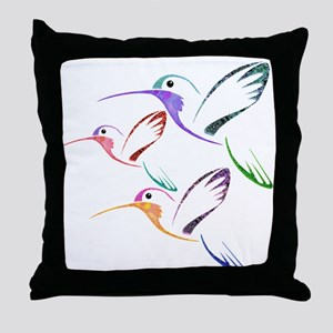 Patchwork Trio of Hummingbirds Throw Pillow